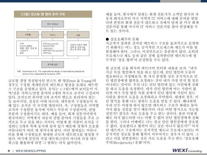 글로벌 경영 컨설팅사인 언스트 앤 영