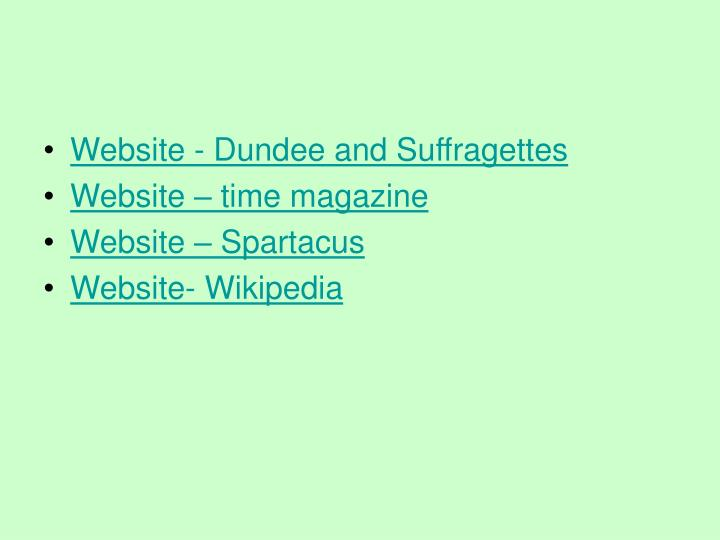 Website - Dundee and Suffragettes