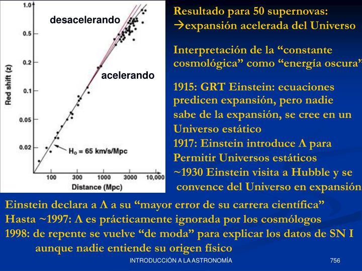 Resultado para 50 supernovas: