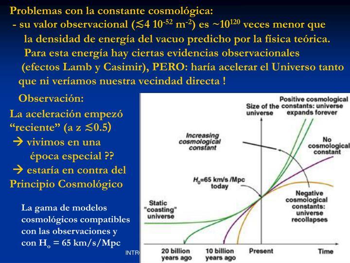 Problemas con la constante cosmológica: