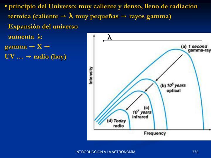 • principio del Universo: muy caliente y denso, lleno de radiación