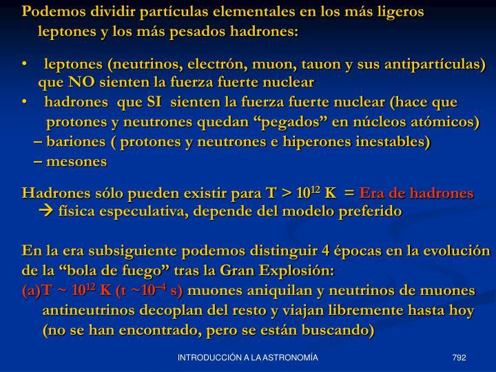 Podemos dividir partículas elementales en los más ligeros