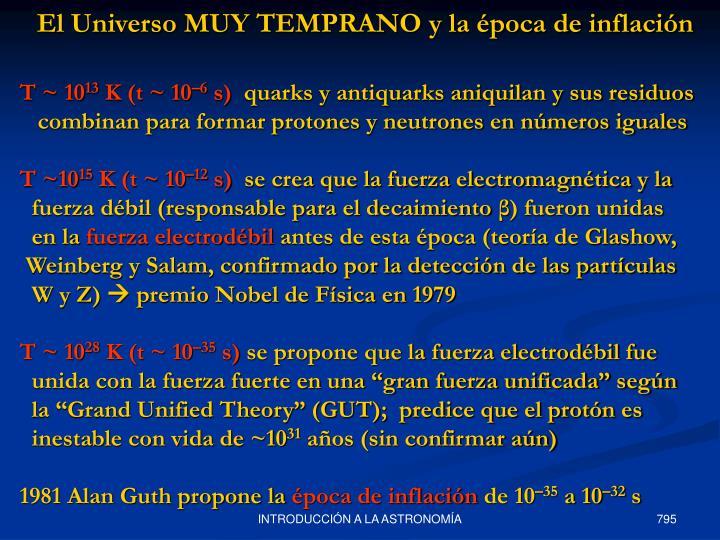 El Universo MUY TEMPRANO y la época de inflación