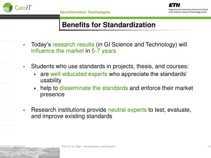 Benefits for Standardization