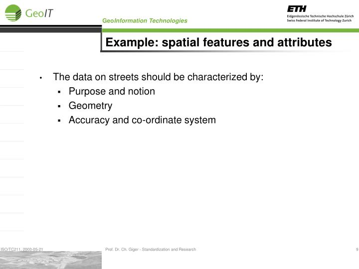 Example: spatial features and attributes