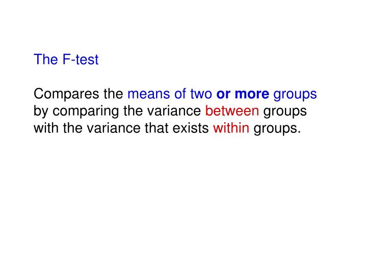 The F-test