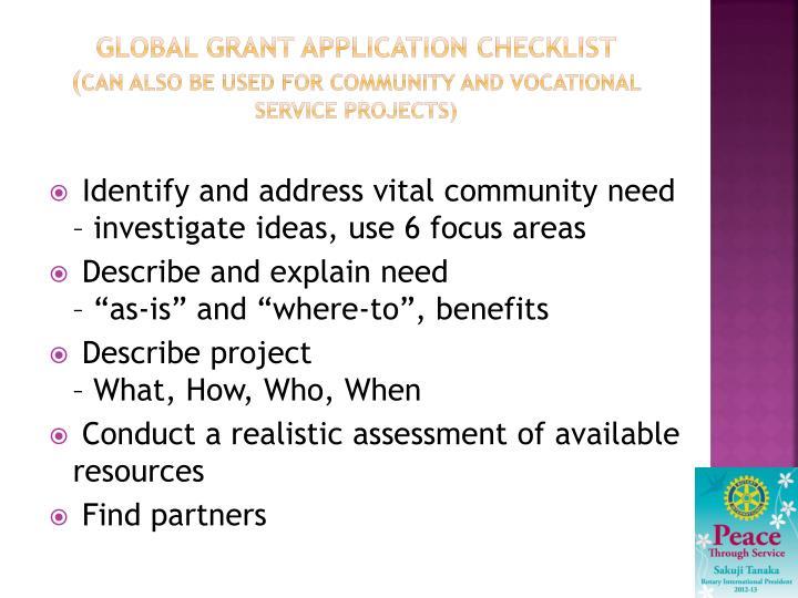 Global grant Application checklist