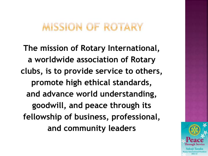Mission of rotary