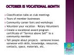 october is vocational month