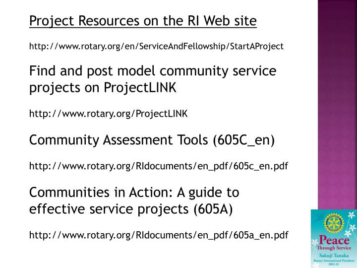 Project Resources on the RI Web