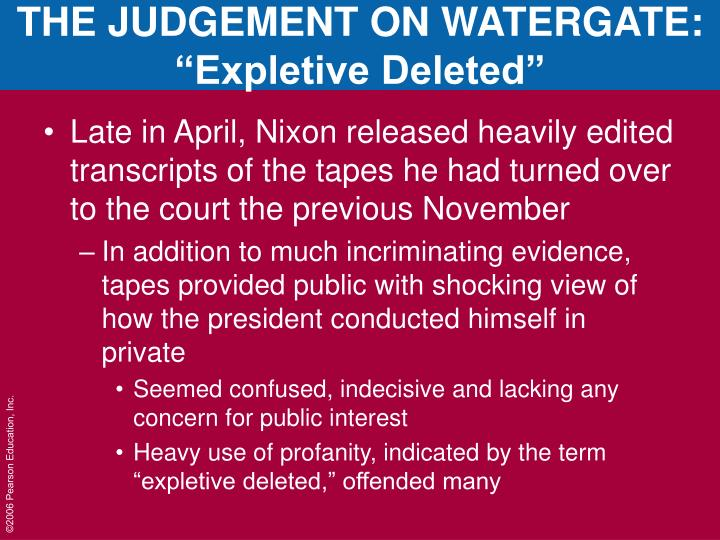 THE JUDGEMENT ON WATERGATE: