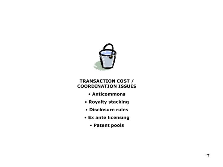 TRANSACTION COST / COORDINATION ISSUES