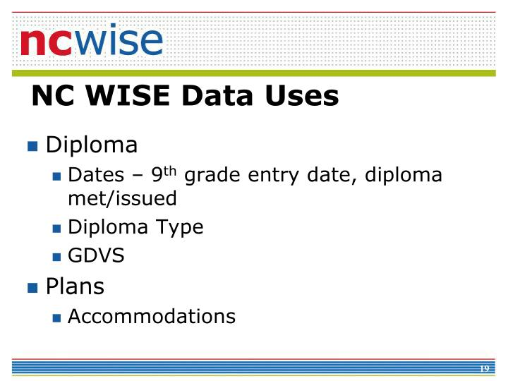 NC WISE Data Uses