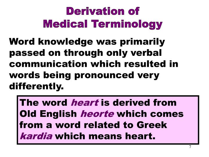 Derivation of Medical Terminology Part 2