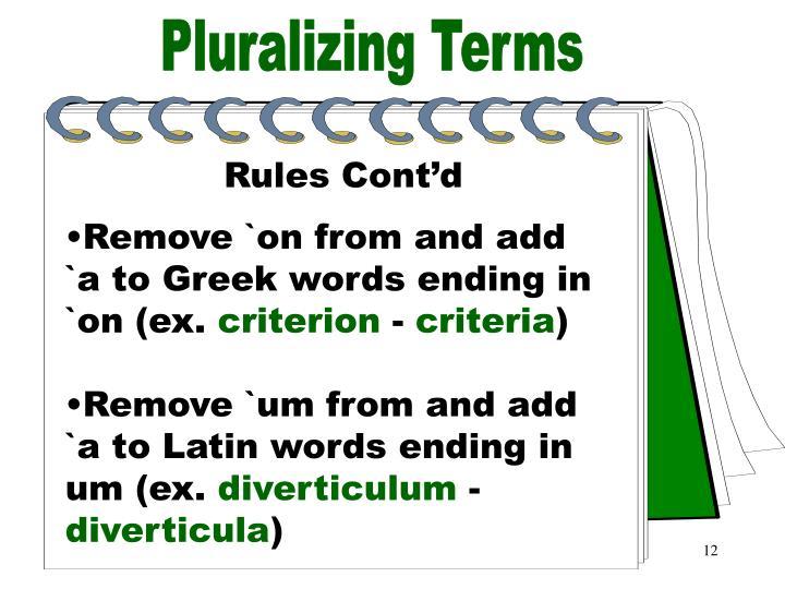 Pluralizing Terms Part 5