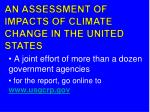 an assessment of impacts of climate change in the united states1