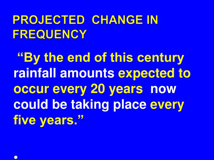 PROJECTED  CHANGE IN FREQUENCY