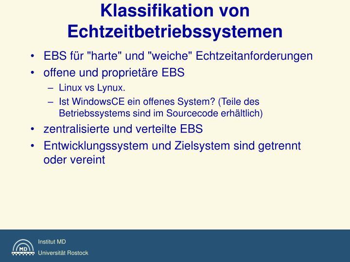 Klassifikation von Echtzeitbetriebssystemen