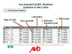 use included 32 bit windows software to set limits