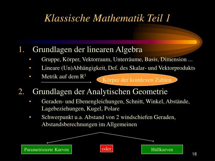 Klassische Mathematik Teil 1