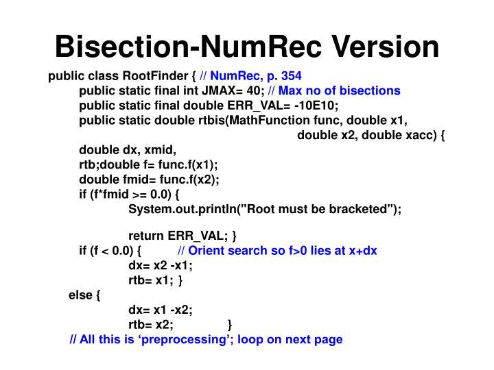 Bisection-NumRec Version