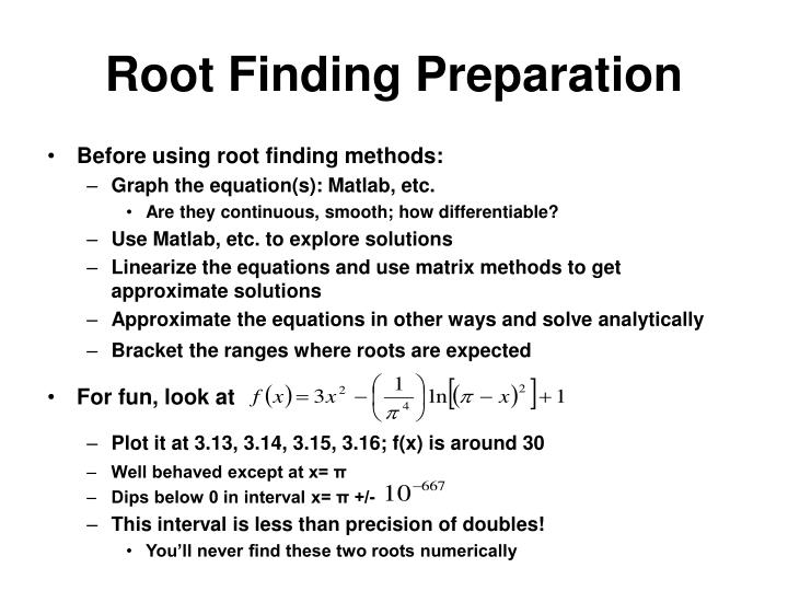 Root Finding Preparation