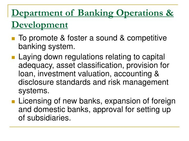 Department of Banking Operations & Development