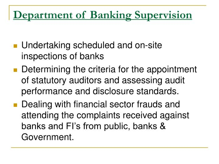 Department of Banking Supervision