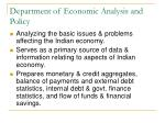 department of economic analysis and policy
