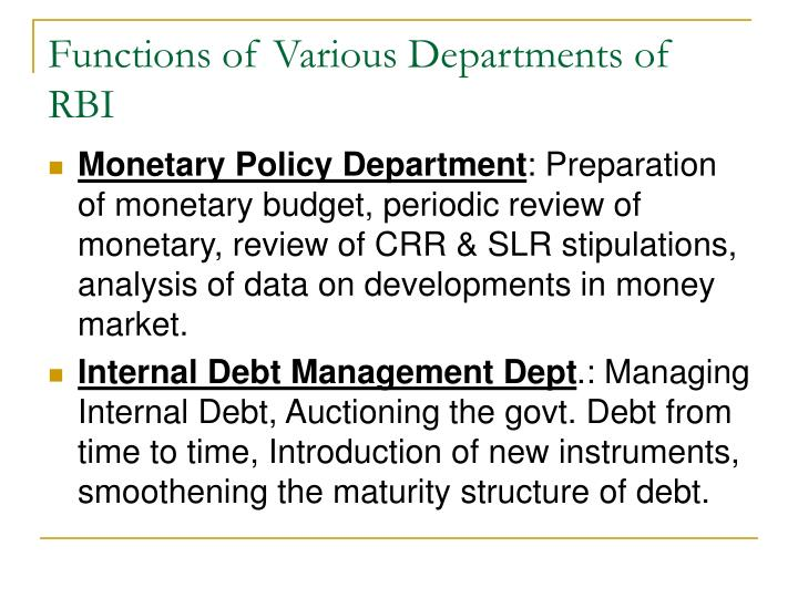 Functions of Various Departments of RBI
