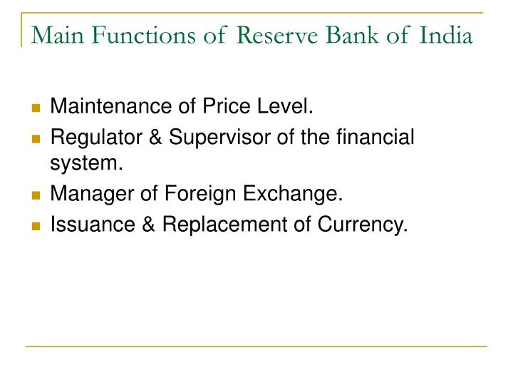 Main Functions of Reserve Bank of India