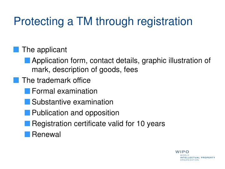 Protecting a TM through registration