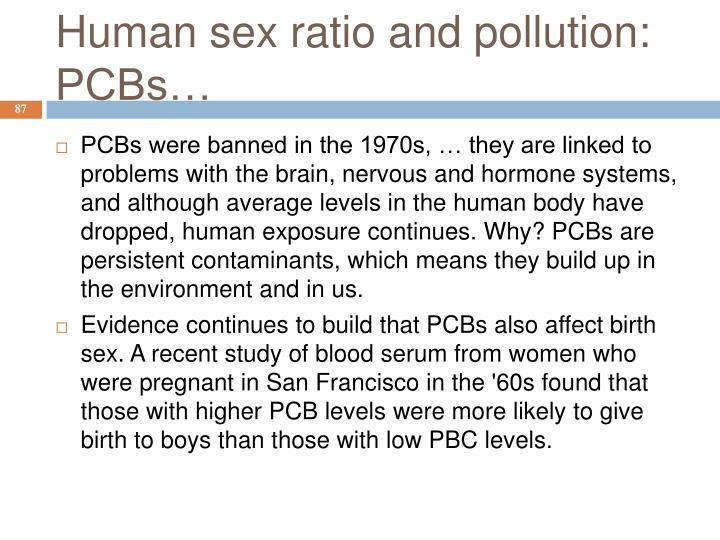 Human sex ratio and pollution: PCBs…