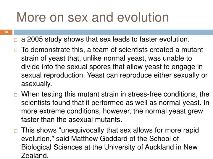 More on sex and evolution