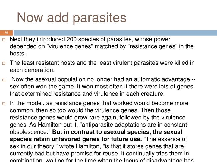 Now add parasites