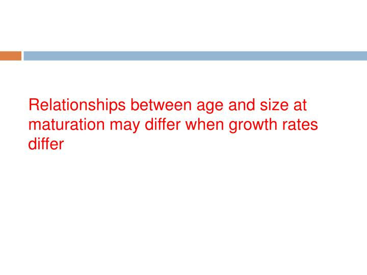 Relationships between age and size at maturation may differ when growth rates differ