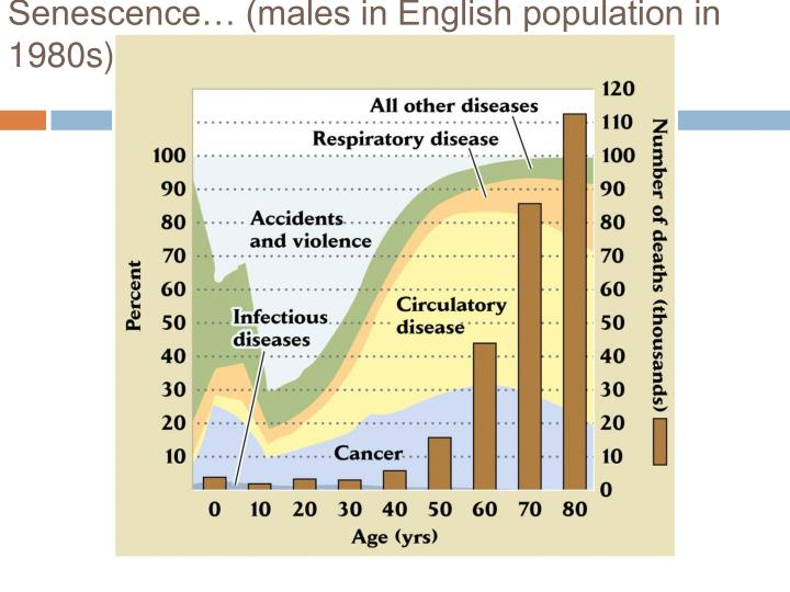 Senescence… (males in English population in 1980s)