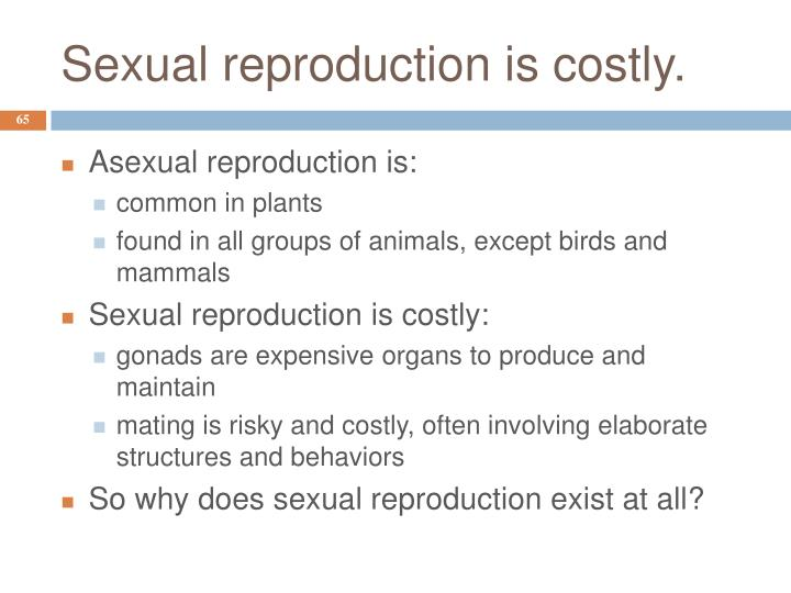 Sexual reproduction is costly.