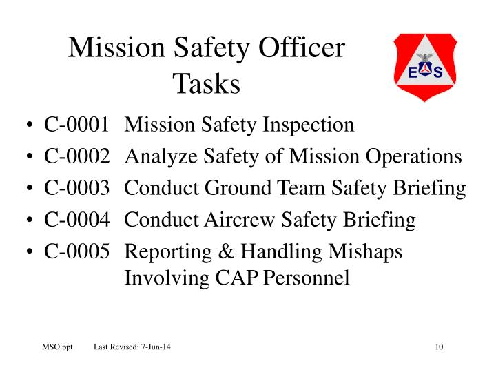 Mission Safety Officer Tasks