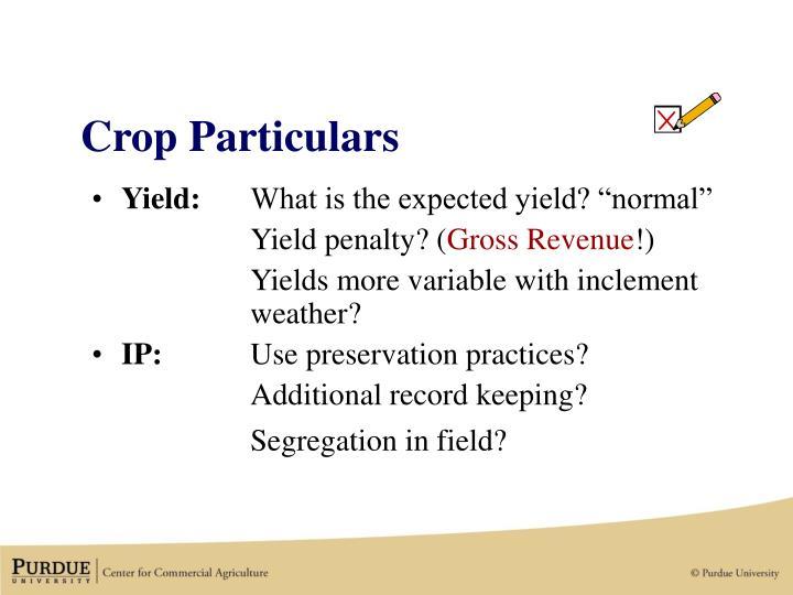 Crop Particulars