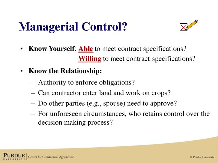 Managerial Control?