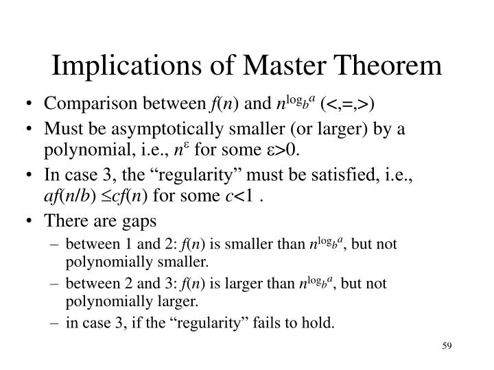 Implications of Master Theorem
