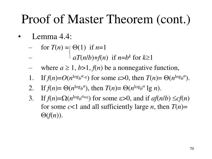 Proof of Master Theorem (cont.)