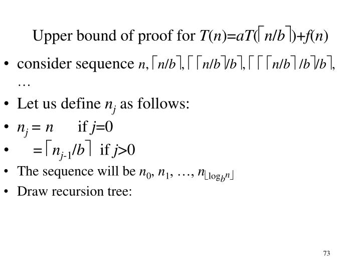 Upper bound of proof for