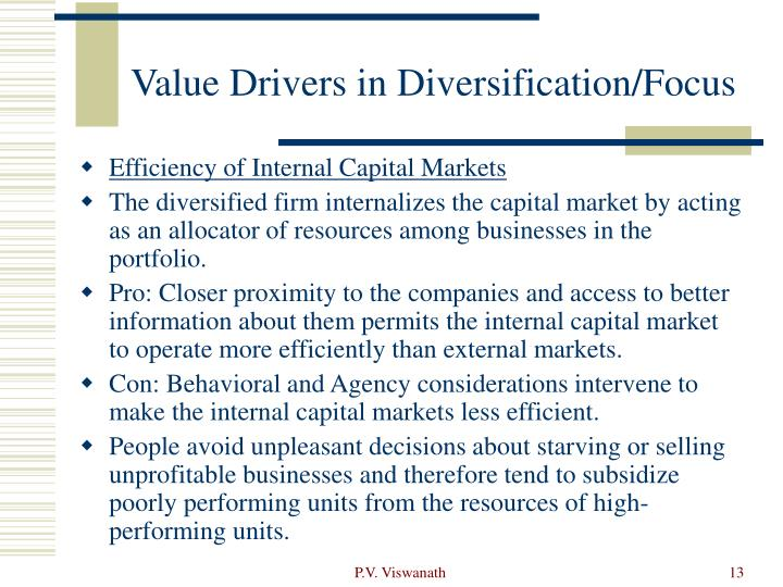 Value Drivers in Diversification/Focus