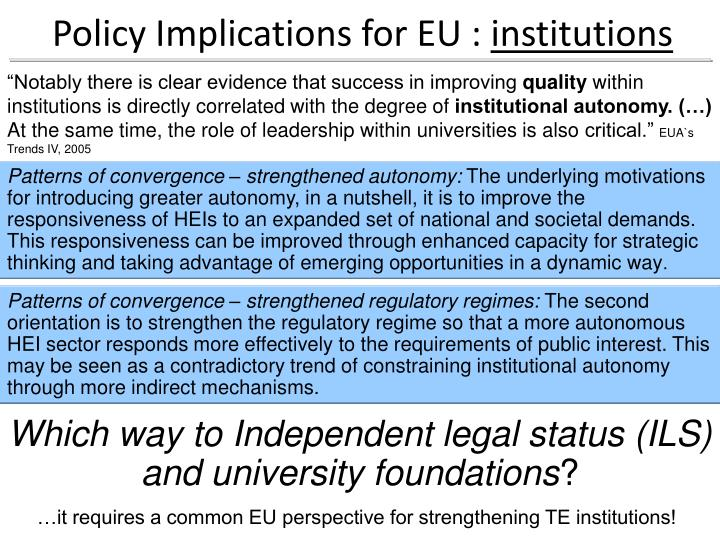 Policy Implications for EU :