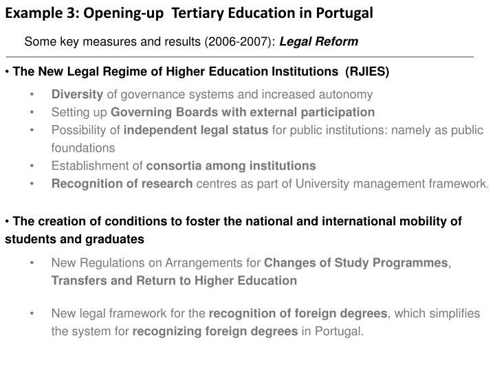 Example 3: Opening-up  Tertiary Education in Portugal