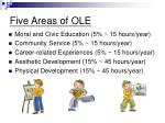 five areas of ole