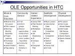 ole opportunities in htc