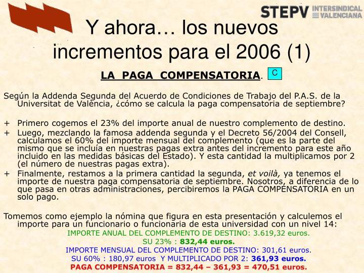 Y ahora… los nuevos incrementos para el 2006 (1)